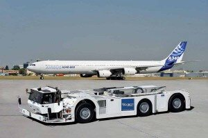 Taxibot aircraft ground transporter on tarmac