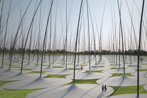 Windstalks quiet desert electricity